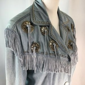 2 Piece Chambray Western Wear~Skirt~Jacket~Fringed